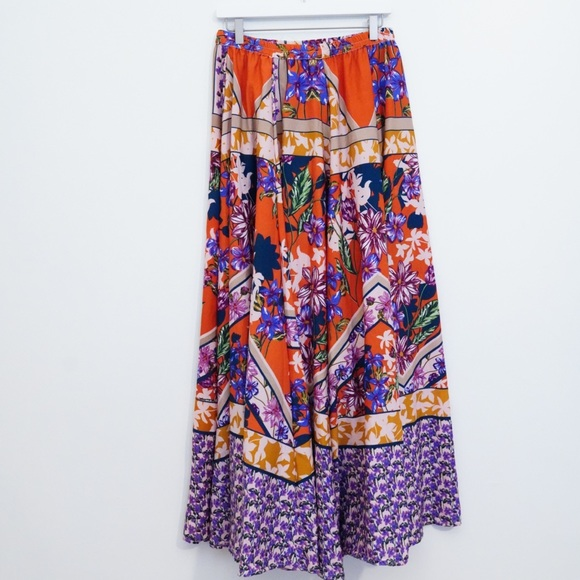 Cupio Dresses & Skirts - CUPIO BOHO ORANGE & PURPLE FLORAL MAXI SKIRT